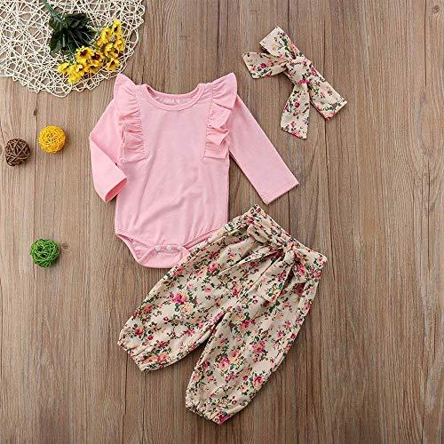 OPAWO Baby Girls Clothing Sets Headband 3PCS Summer Outfit Set Newborn Girl Bodysuit Romper Sunflower Printed Shorts